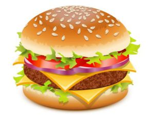 hamburger bun with lettuce, tomato, onion, cheese and meat patty